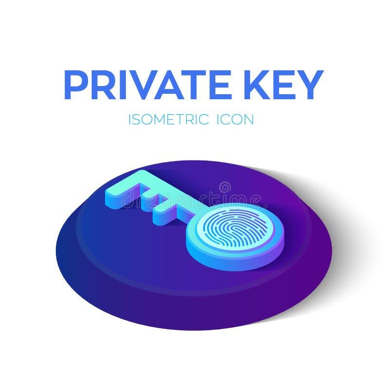 Private Taste Digital-Schlüssel mit isometrischer Ikone des Fingerabdruck-3D Internetsicherheit und Zugang Geschaffen für Mobile, lizenzfreie abbildung