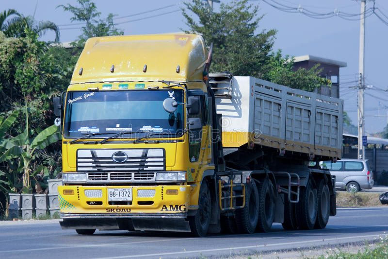 Private Trailer Dump Truck. CHIANGMAI, THAILAND - DECEMBER 8 2014: Private Trailer Dump Truck. Photo at road no.121 about 8 km from downtown Chiangmai, thailand stock images