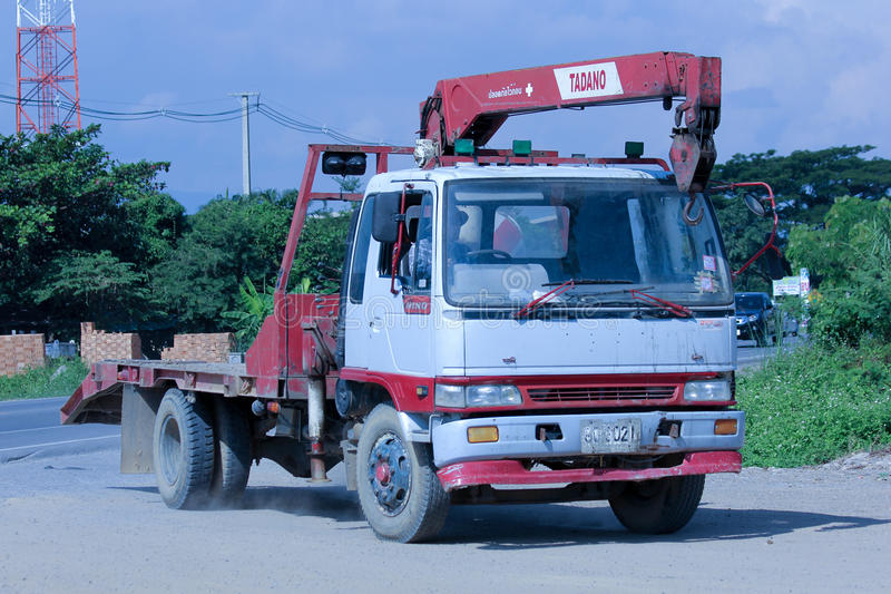 private truck with crane  editorial photography  image of