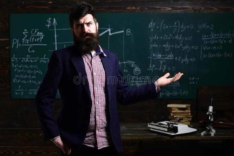 Private tutors often have vast teaching experience. Private coach in the class. Teacher has his own love of learning royalty free stock photos