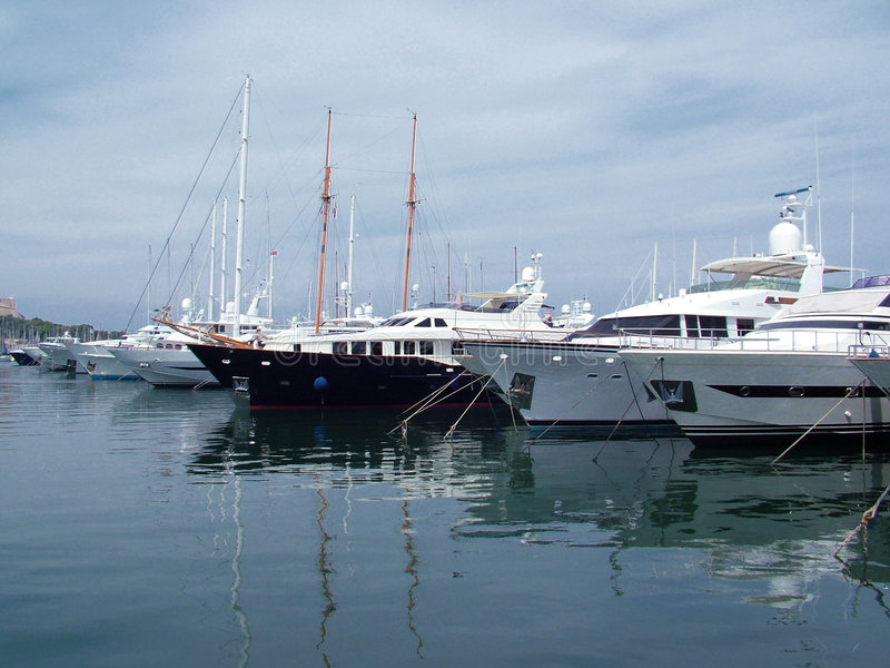 Private yachts. In Cannes - France royalty free stock photo