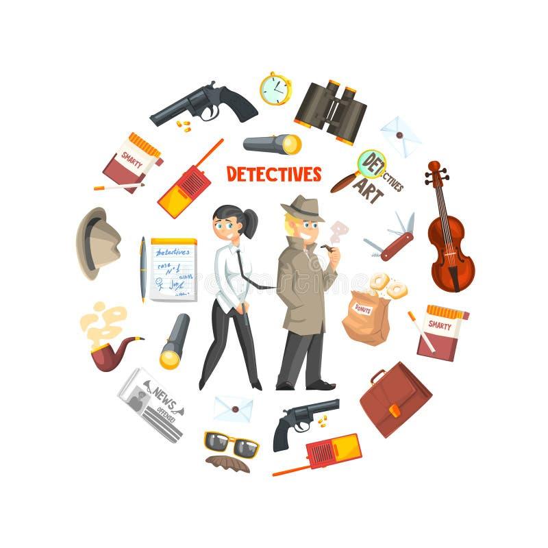 Privater Detektiv Banner Template, Detektiv Agency, Verbrechen-Untersuchung, Forscher mit Ausrüstung in der Kreisform lizenzfreie abbildung