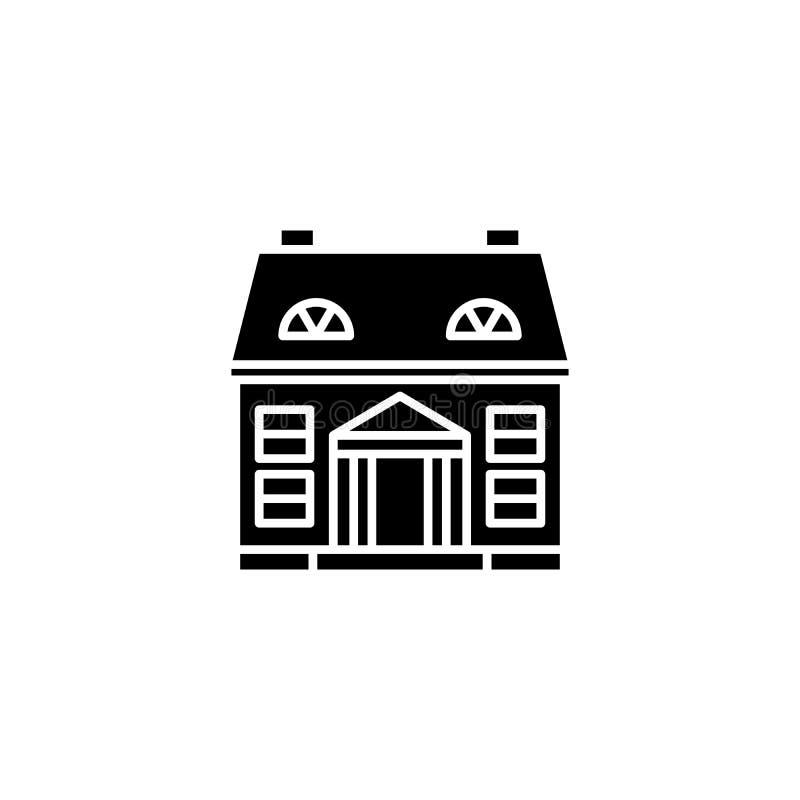 Privates Gebäudeschwarz-Ikonenkonzept Flaches Vektorsymbol des privaten Gebäudes, Zeichen, Illustration vektor abbildung