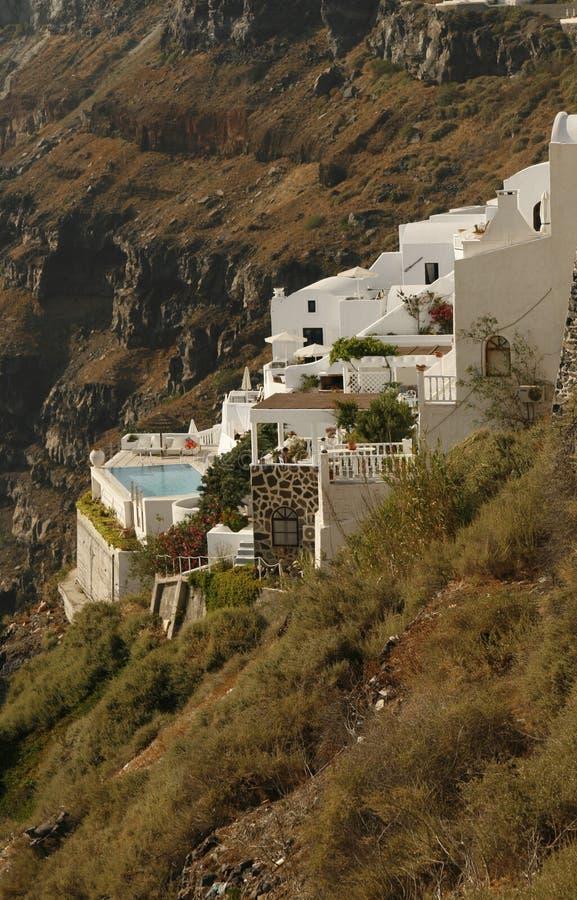 Privates Landhaus auf dem Abhang stockbild