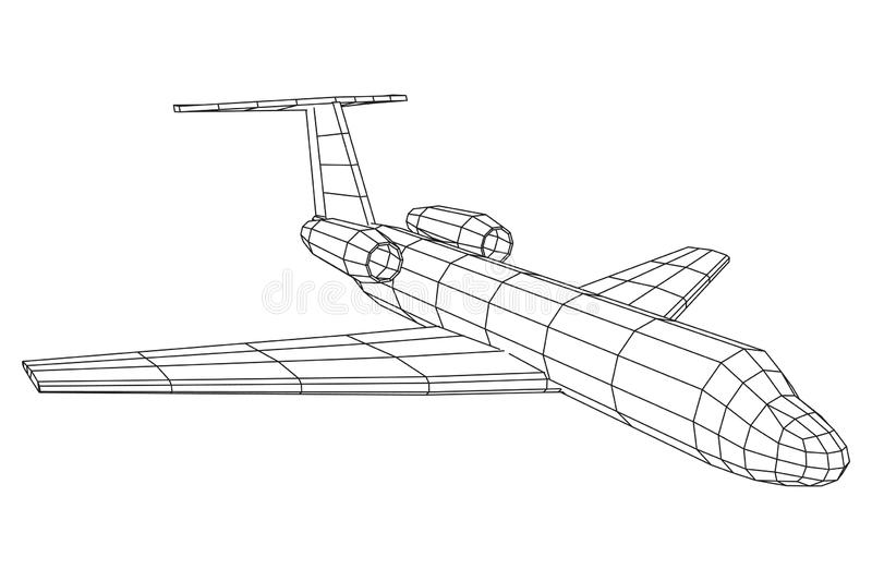 Privates polygonales wireframe Jet Plane Abstracts Flugzeug stock abbildung