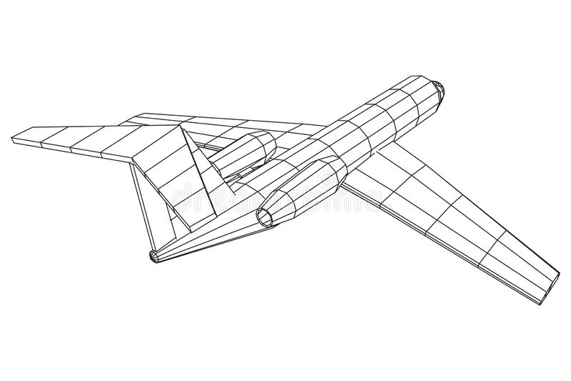 Privates polygonales wireframe Jet Plane Abstracts Flugzeug lizenzfreie abbildung