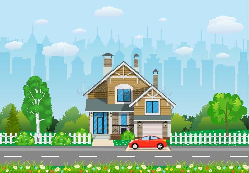 Privates Vorstadthaus mit Bäumen, stock abbildung