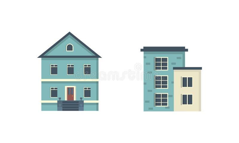 Privathaushalte in Vorstädten Außenfassade Vector urban building icons set lizenzfreie abbildung