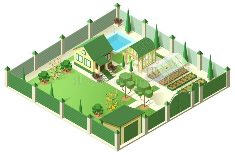 Privathausyard mit Parzelle hinter hohem Zaun Isometrische Illustration 3d stock abbildung