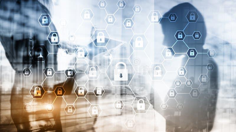 Privatleben Cybersecurity, der Informationen, Datenschutz, Virus und Spywareverteidigung vektor abbildung