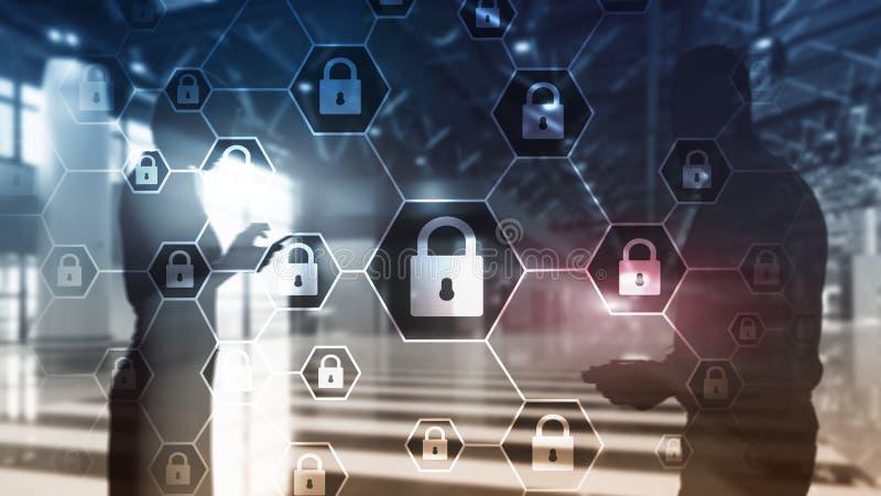 Privatleben Cybersecurity, der Informationen, Datenschutz, Virus und Spywareverteidigung lizenzfreie abbildung