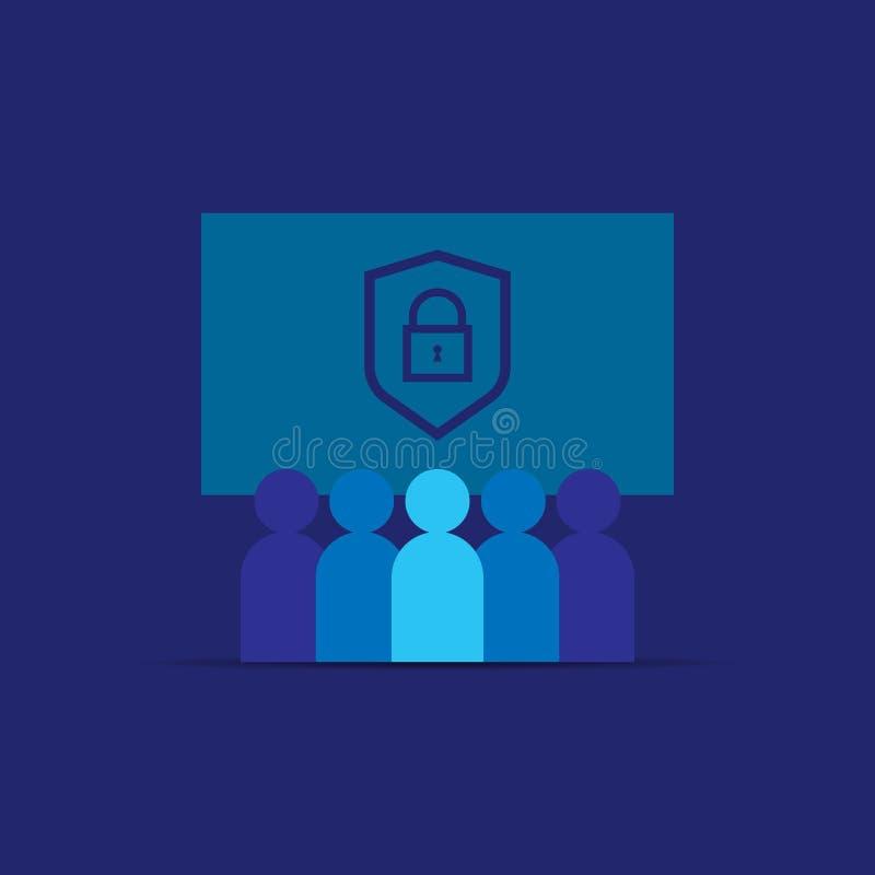 Privatleben-Daten-Schutz und Internet VPN-Sicherheits-Konzept mit Schild zeichnen Ikone Rückseitige Ansicht über getrennt Diagram vektor abbildung