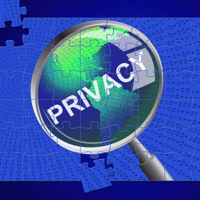 Privatleben-Vergrößerungsglas zeigt verboten klassifiziert und Vertraulichkeit an stock abbildung