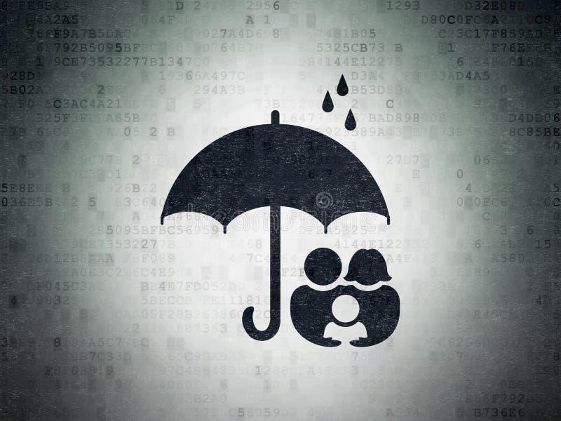 Privatlebenkonzept: Familie und Regenschirm auf Digital-Daten tapezieren Hintergrund lizenzfreie abbildung