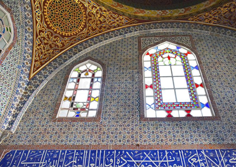 Privy Room of Murad III. The Privy Room of Murad III in Topkapi Palace Harem in Istanbul, Turkey. Decorated with blue and white and coral red Iznik tiles stock photography