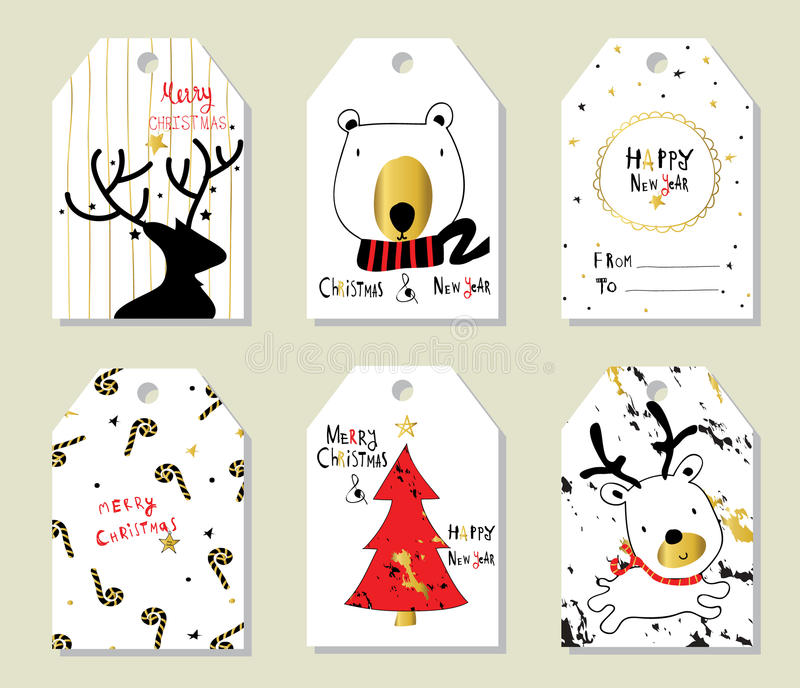 Prix à payer rouge noir léger de Noël d'amour d'or avec l'arbre et l'ours illustration de vecteur