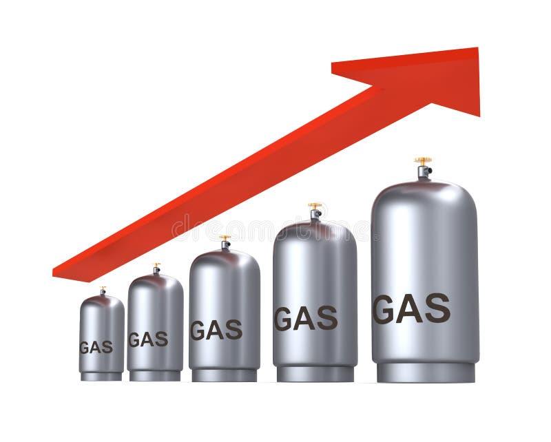 Prix d'augmentation de concept de gaz illustration stock