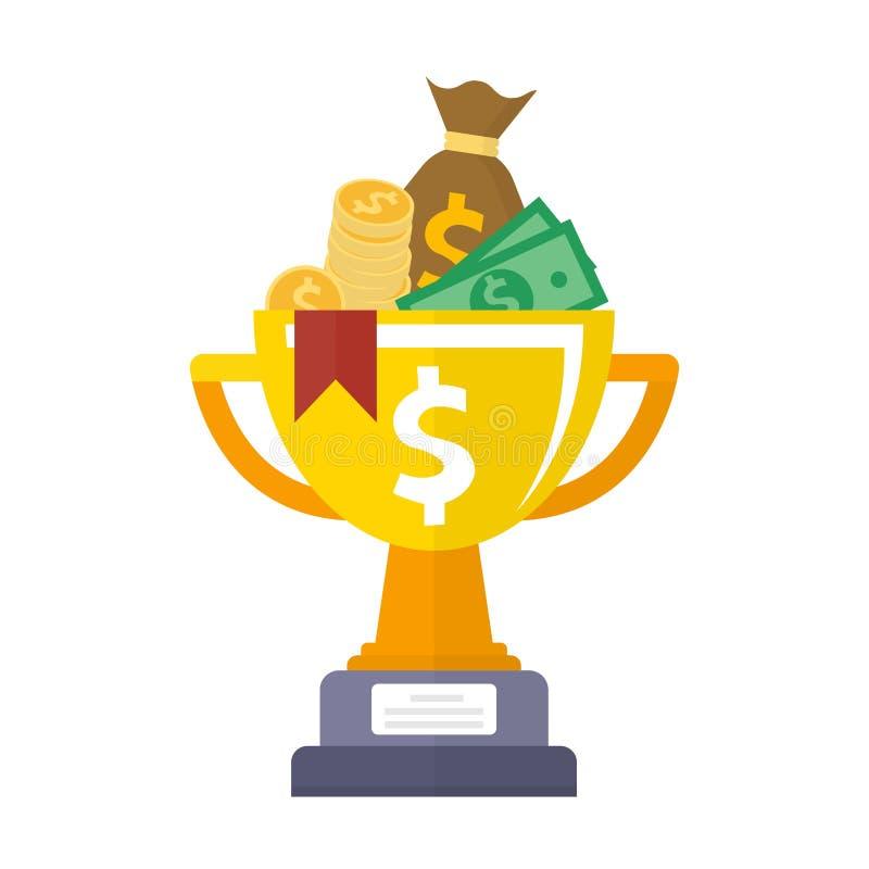Prix de championnat de tasse d'or avec l'icône d'argent Style plat de premier endroit de récompense d'isolement illustration libre de droits