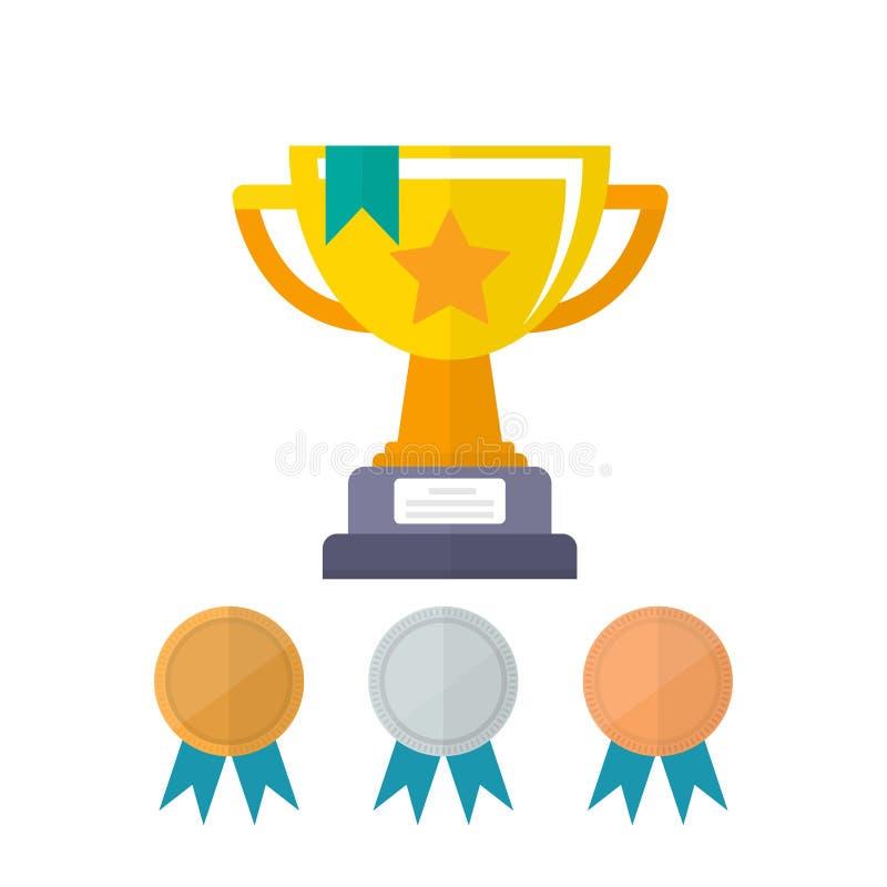 Prix de championnat de tasse d'or Premier endroit de récompense avec les médailles d'or, d'argent et en bronze de champion de réc illustration libre de droits