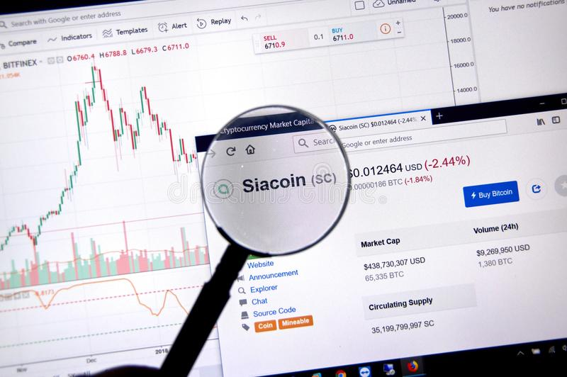 Prix de Siacoin sous la loupe image stock