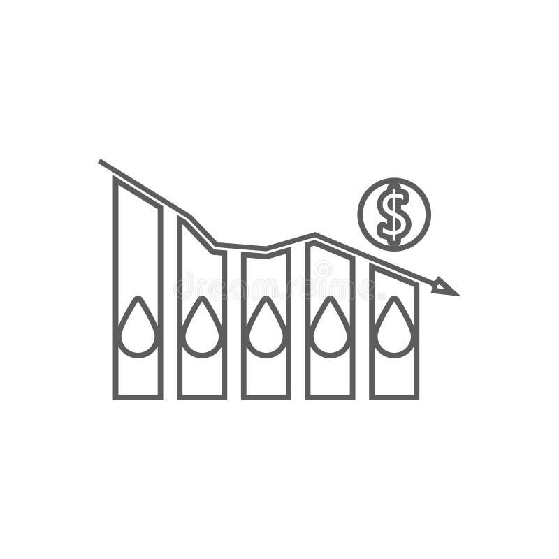 Prix du pétrole tombant vers le bas icône de graphique Élément d'huile pour le concept et l'icône mobiles d'applis de Web Contour illustration stock