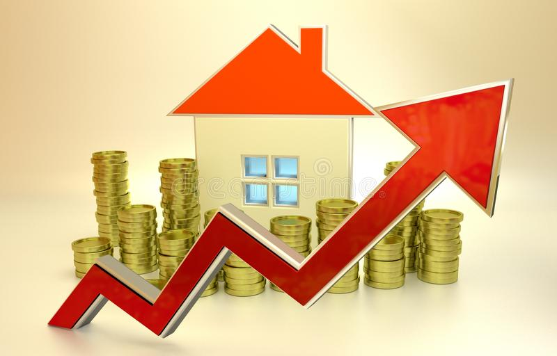Prix en hausse d'immobiliers image stock