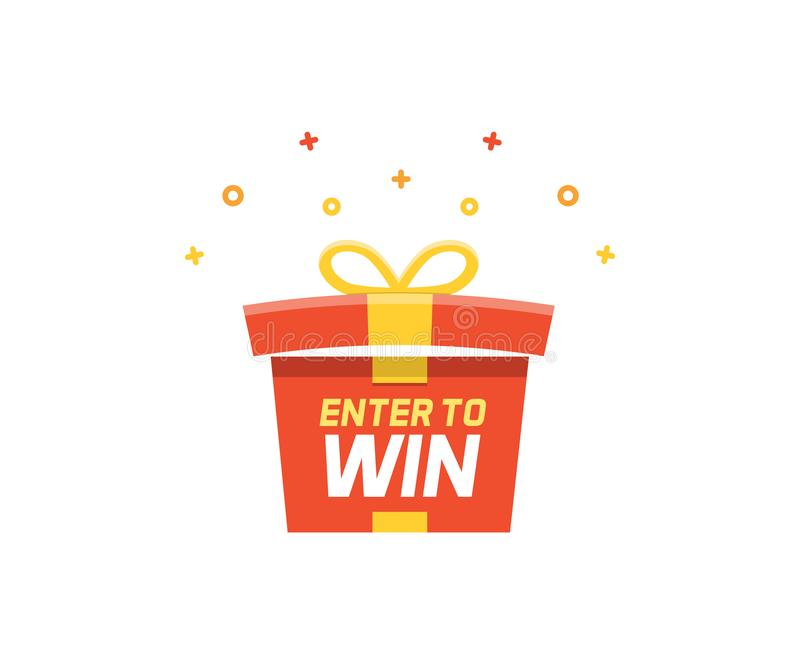 Prize box opening and exploding with fireworks and confetti. Enter to win vector illustration vector illustration