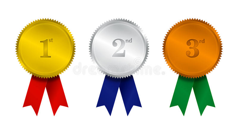 Prize Seal & color Ribbons stock illustration