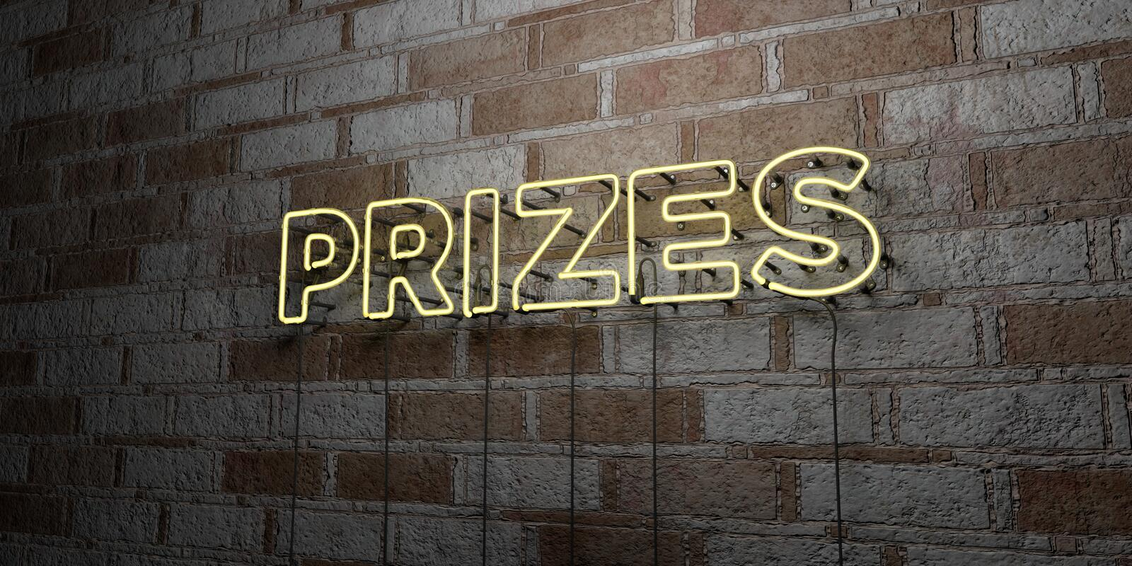PRIZES - Glowing Neon Sign on stonework wall - 3D rendered royalty free stock illustration vector illustration
