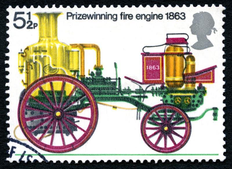 Prizewinning stämpel 1863 för porto för brandmotor royaltyfri foto