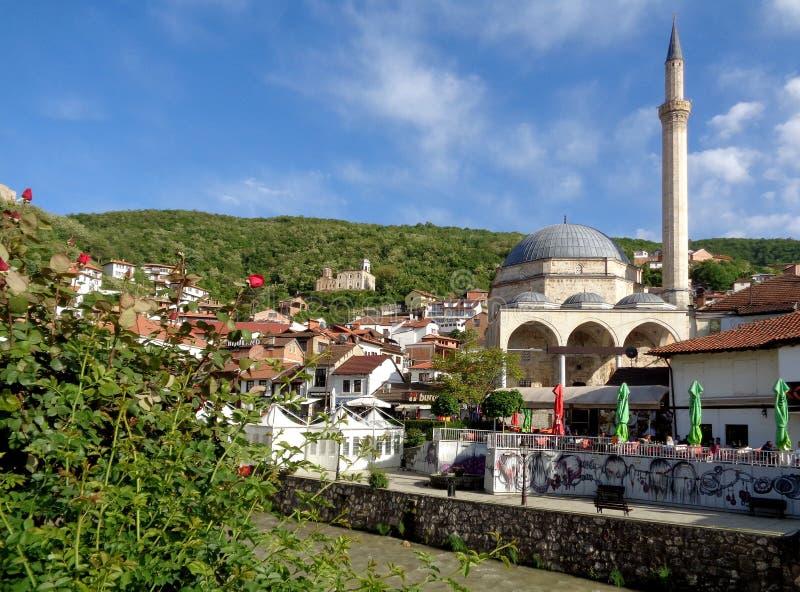 Prizren Old City with the Famous Landmark, Sinan Pasha Mosque, Kosovo. UNESCO World Heritage Site stock photography