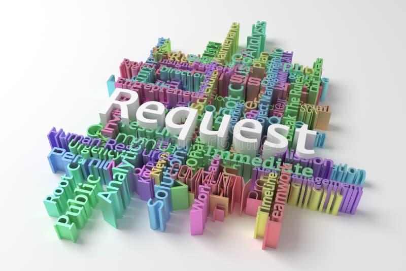 Prośba, biznesowa słów kluczowych słów chmura Dla strony internetowej, graficznego projekta, tekstury lub t?a, ?wiadczenia 3 d ilustracji