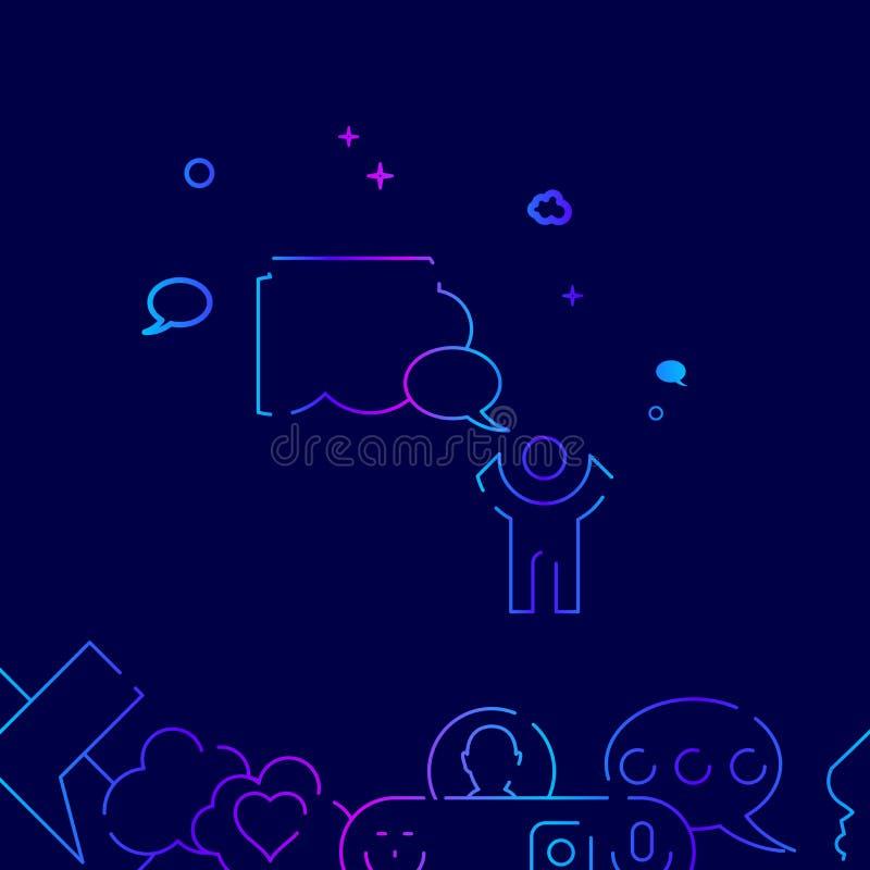 Prośba Niebiańska wektor linii ikona, ilustracja na zmroku - błękitny tło Powi?zana dno granica ilustracja wektor