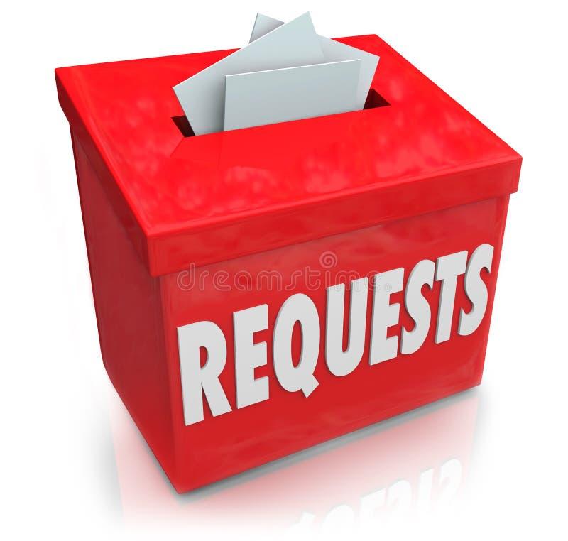 Prośby propozyci pudełko Chce pragnienia Przedkładają pomysły ilustracja wektor