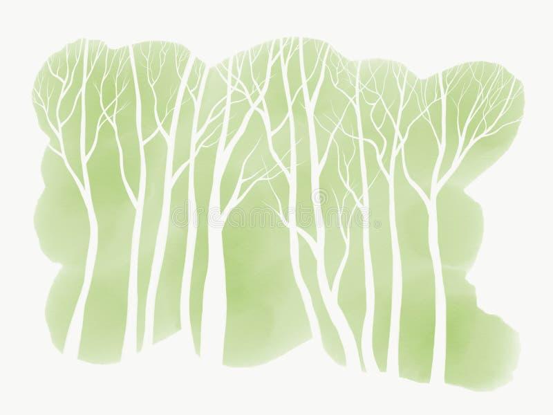 Prości Biali drzewa na Zielonym Watercolour tle ilustracji