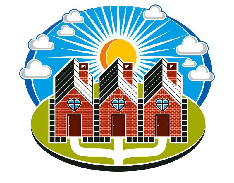 Prości domy budujący od cegieł z drogą przemian ilustracji