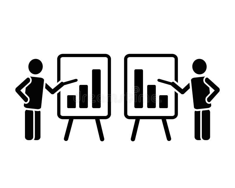 Prości dwa ikony czarny stały piktogram mężczyzna postać z flipchart wskazuje na prętowej mapy kolumnach narastających w górę i s ilustracja wektor