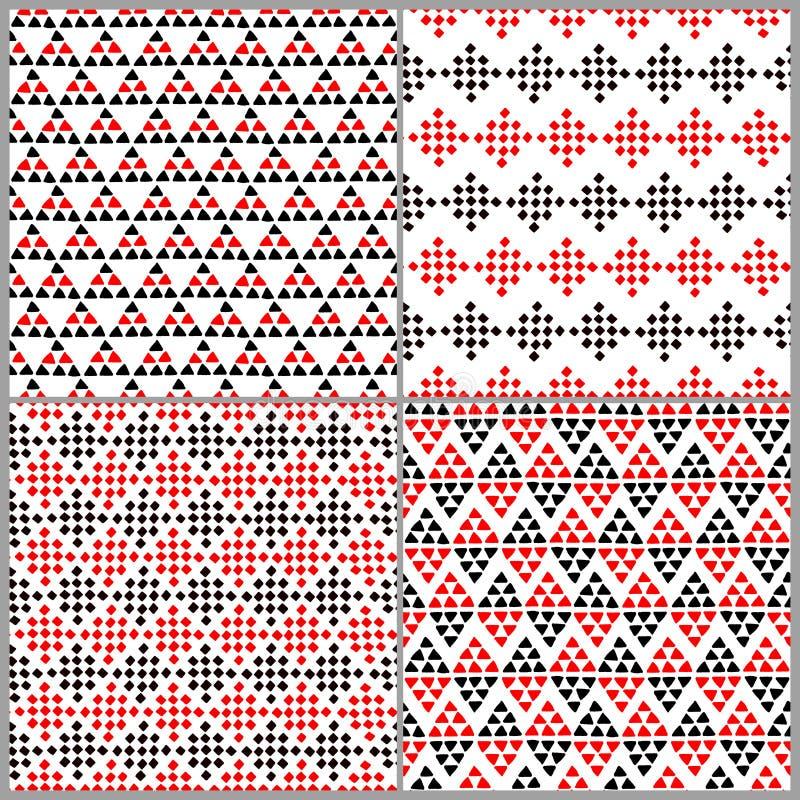 Prości etniczni kolorowi trójboki bezszwowy wzór, wektor royalty ilustracja