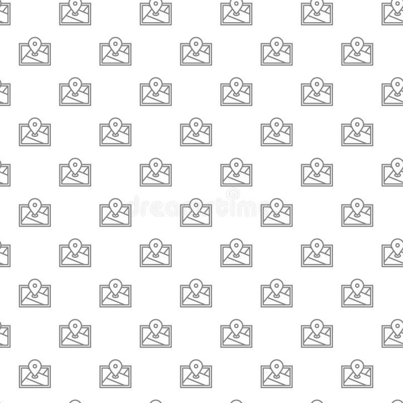 Prości gps, lokacja, trasy mapa, nawigatora bezszwowy wzór z różnorodnymi ikonami i symbole na białym tła mieszkaniu, ilustracja wektor