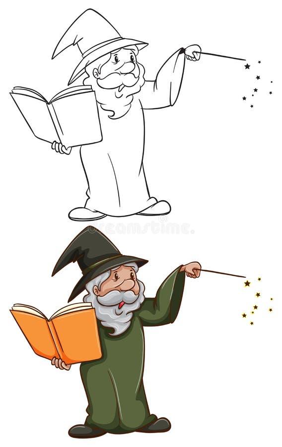 Prości i coloured nakreślenia czarownik royalty ilustracja