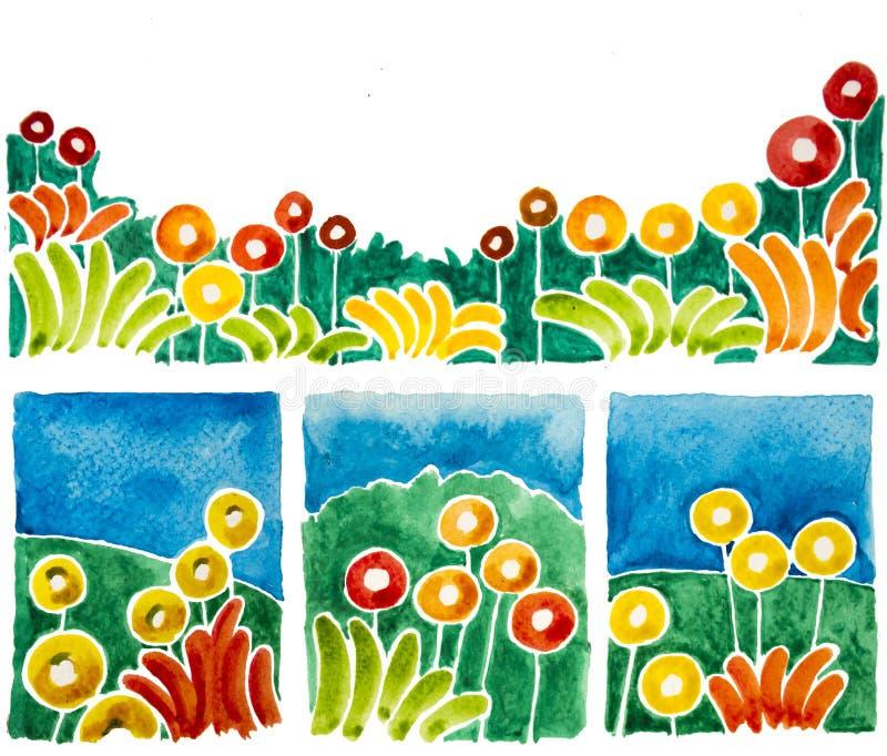 Prości kwiatów kształty są akwarelami ilustracji