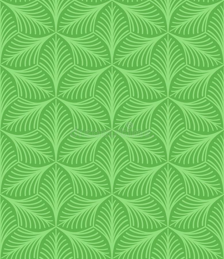 Prości liście z smugami wektor bezszwowy wzoru zielony powtórkowy tło tekstylna farba Tkaniny swatch napoj?w ilustraci papieru re ilustracji