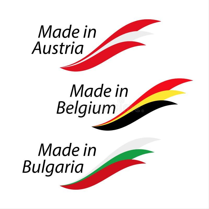 Prości logowie Robić w Austria, Robić w Belgia i Robić w Bulgar ilustracja wektor
