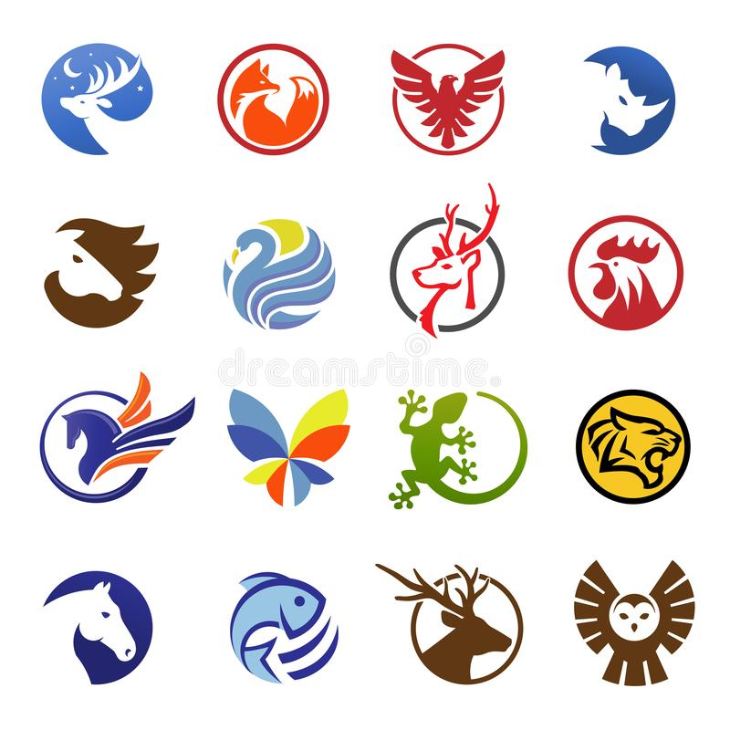 prości nowożytni zwierzęta w okręgu logo ilustracja wektor