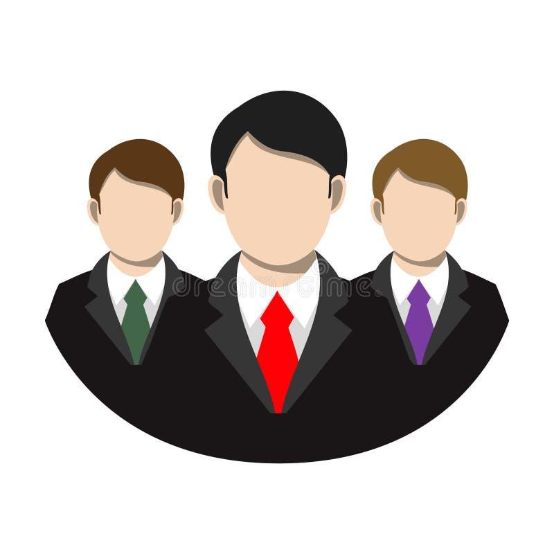Prości, płascy biznesmeni, nadają się drużynową ikonę i wiążą Odizolowywający na bielu ilustracja wektor