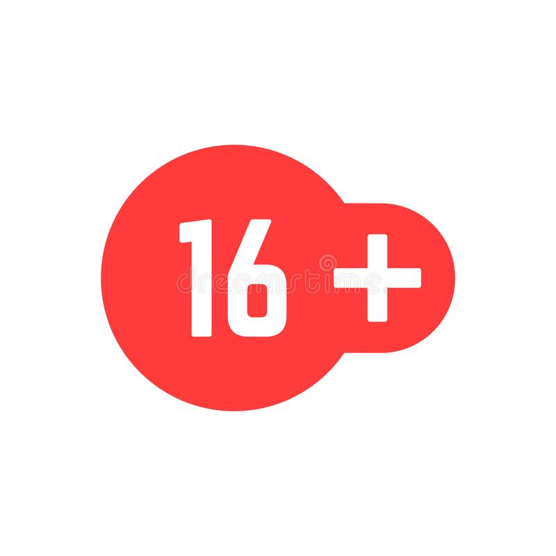 Prości 16 plus czerwona ikona ilustracji
