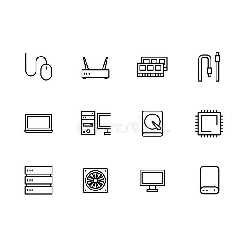 Prości ustaleni symbole komputerowy narzędzia i składniki zarysowywają ikonę Zawiera taki ikonę RAM, dysk twardy, procesor, serwe ilustracji