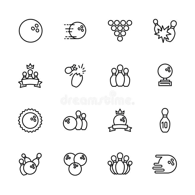 Prości ustaleni symbole rzuca kulą, kegling i billiards, zarysowywają ikonę Zawiera taki ikona kręgle piłkę, kręgle, puchary royalty ilustracja