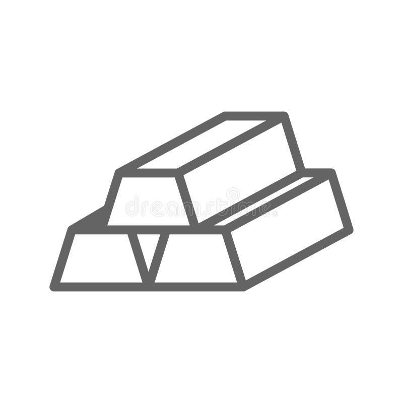 Prości złociści bary linii ikony Symbolu i znaka wektorowy ilustracyjny projekt Editable uderzenie pojedynczy białe tło royalty ilustracja