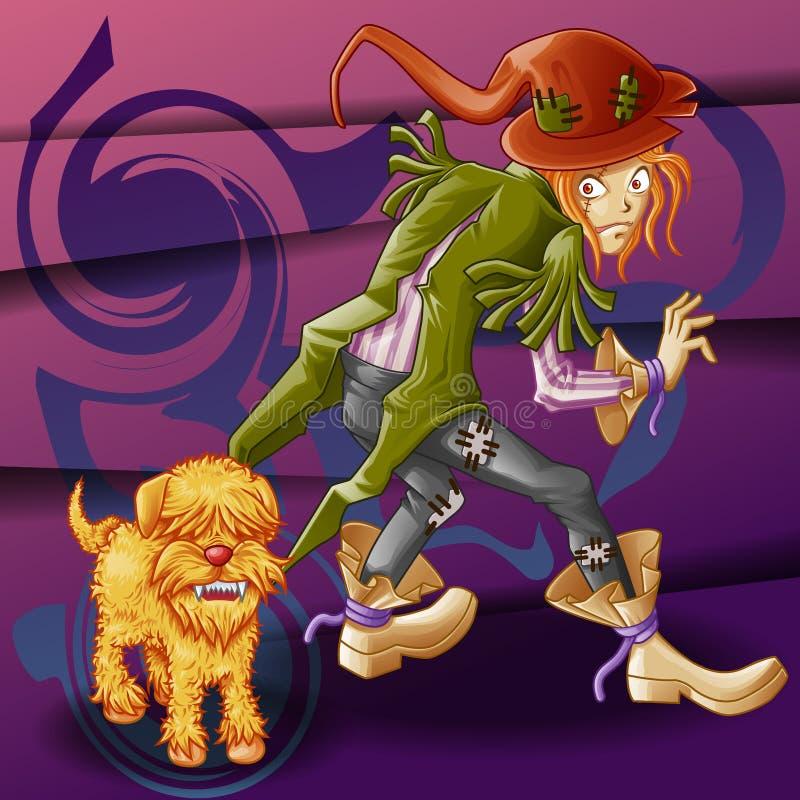 Prożniaczy i szalenie pies royalty ilustracja